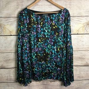 The Limited pleated black floral bell sleeve top